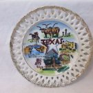 "Vintage Texas Souvenir Plate 6 1/4"" Diameter  Made in Japan Lace Edge"