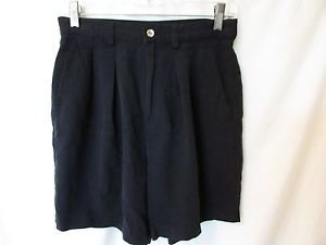 Tommy Bahama Pleated Front 100% Silk Womens Shorts Size 6 Black