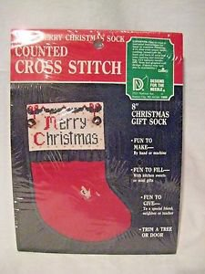 "Holiday Stocking Cross Stitch KIT  8"" New in Package Merry Christmas Sock"