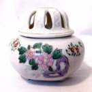 Vintage Ceramic Lidded Incense Burner Jar Pot Asian Floral Design Made in Japan
