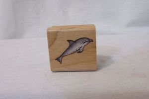 Rubber Stamp DOLPHIN  Wood Mount RUBBER STAMP Small New Crafting