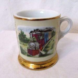 Vintage Antique Occupational Shaving Mug Railroad Engineer Steam Locomotive