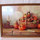 "VINTAGE LITHOGRAPH PRINT ROBERT CHAILLOUX ""STILL LIFE w APPLES""  FRAMED 11 x14"