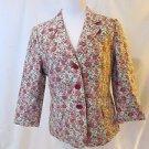 Talbots Womens Size 10 Floral Blazer  Three Button Front