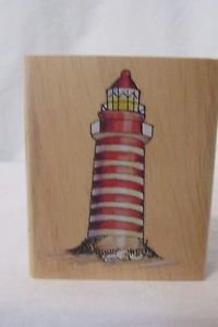 Rubber Stamp Lighthouse  Rubber Stamp Wood Mounted   Unused Scrap Booking Craft