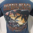 Harley Davidson T Shirt Adult Small Short Sleeve Blue Eagle Myrtle Beach