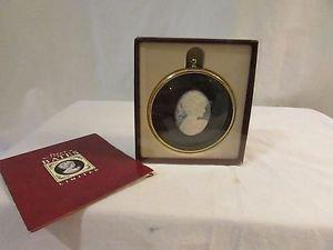 Peter Bates Miniatures Cameo Pony Tailed Girl in Brass Frame Original Box