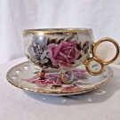 Royal Sealy Tea Cup & Saucer Pink & Gray Roses Footed  Mid Century Vintage
