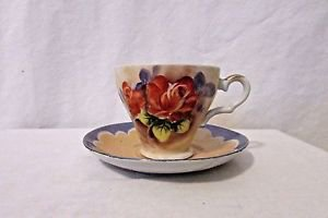 Vintage Lusterware Tea Cup And Saucer Hand Painted Floral Bone China Japan