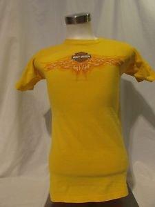 Harley Davidson Adult T Shirt Small Sleeve Yellow Grand Cayman  Pirate