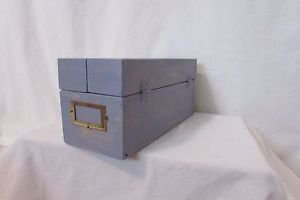Hinged Lid File Recipe Box Removable Slates Card Catalog Hand Painted Distressed