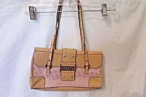New Purse Shoulder Hobo Bag Tan and Pink Embossed