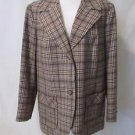 Pendleton 100% Virgin Wool Women's Blazer Large Vtg 1960s Brown Plaid Wide Lapel