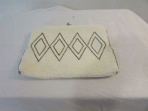 Vintage Beaded Clutch Purse Diamond Pattern, Chain Strap Made in Japan