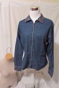 WOOLRICH Denim Jacket Women's Medium Zipper Front Embroidered Collar & Cuffs