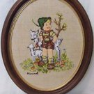 Vintage Crewel  Framed Hummel Farm Boy, Embroidery On Linen