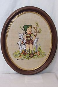 Vintage Crewel  Framed Hummel Farm Boy, Embroidery On Linen