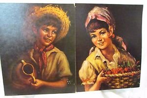 "SET 2 VINTAGE LITHOGRAPHS COUNTRY BOY TOVINE & COUNTRY GIRL HOLUSA 16"" X 20"""