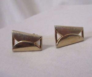 Swank Vintage Quality Cuff Links Goldtone Geometric Design