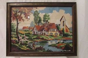 """VTG NEEDLEPOINT AUTUMN COTTAGES FARM Completed 22.5"""" X 17.5"""" RUSTIC FRAME"""