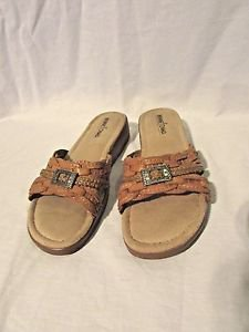 MINNETONKA Leather Sandals WOMENS 8 Tan Braided Stitched Leather Slides