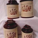 Vintage Canister Set Milk Jugs 4 Piece Ceramic Wheat Design 1960's Country