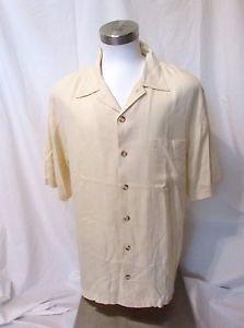 Tommy Bahama Silk Shirt Men's Large Camp Short Sleeve Pocket Shirt Pale Yellow