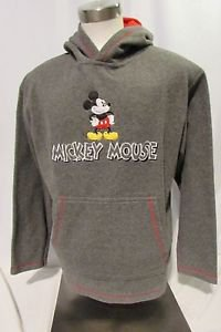 Mickey Mouse Fleece Hoodie Sweatshirt Men's Large Lined with Front Pockets Gray