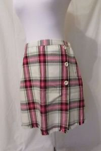 Talbots Girls Plaid Wool Skirt Kilt Size Girls 18 Lined Front Button Accent