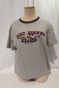 Mickey Mouse Disney World T Shirt Women's Medium Short Sleeve  Gray Tee