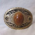 Vintage Western Oval Brass And Black Belt Buckle With Wood Cap
