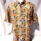Tori Richard Hawaiian Camp Shirt Men's Large Golden Floral Aloha Print