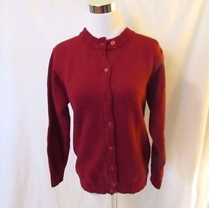 Talbots Classic Crew Neck Cardigan Small Wool Red Long Sleeves Cable Knit Trim