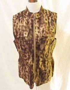 Chico's Animal Print Vest Women's Size 0 (Small or 4) Bishop Collar Zipper Front