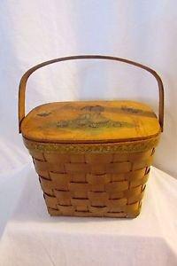 Vintage Handmade Decoupage Woven Basket Purse Made in 1973