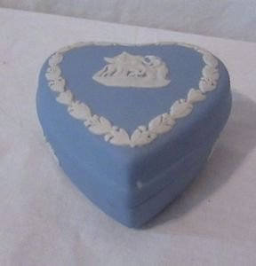 Vintage Jasperware Wedgwood Trinket Box Heart Shaped