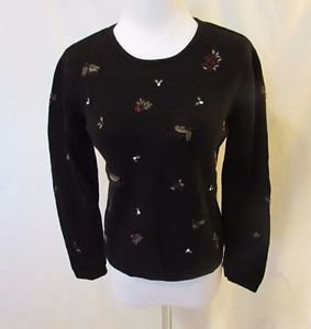 Talbots Petites Crew Neck Sweater Size P Black Embroidered Beaded Holly Design