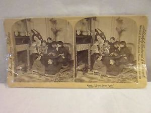 """Vintage stereoscope photo Picture of a family called """"Home Sweet Home"""""""