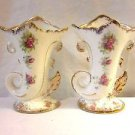 Peasant Village Set Of 2 Ceramic Vases Cornucopia Horns Floral Gold Trimmed made