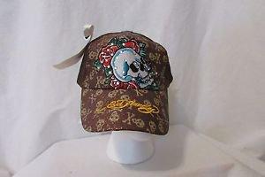 Ed Hardy Trucker Snapback Hat Ball Cap Gold With Skull, and Rhinestones NWT
