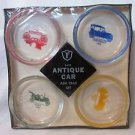 Vtg Ashtray Federal Glass Company Antique Car Ash Tray Set Original Packaging