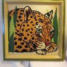 Vintage Framed Needlepoint Cheetah fast cat Completed Professional Framed