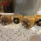 4 Vtg Bead Rhinestone Jewelry Napkin Rings Wood Reclaimed RePurposed Handmade