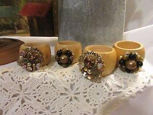 4 Vtg Bead Rhinestone Jewelry Napkin Rings Wood Reclaimed RePurposed Handmade