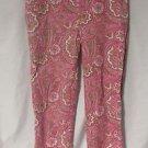 Talbots Petite Capri Pants Women's 8P Pink Paisley Side Zipper Spring Pants
