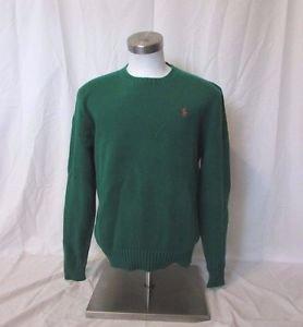 Ralph Lauren Polo Sweater Men's  Large  Crew Neck Pullover Green Pima Cotton