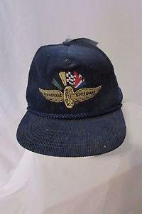1980's Vintage Indianapolis Motor Speedway Navy Corduroy Snapback Cap NWT