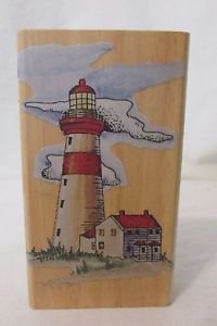 Rubber Stamp Large Lighthouse with Residence Themed Wood Mounted Rubber Stamp