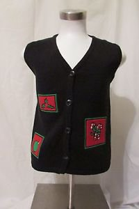 Christmas Vest Women's Medium Large  Holly Decorations  Candy  Appliques V Neck