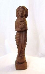 "Vintage Carved Wood Blessed Virgin Mary & Child Statue 11"" Primitive Folk Art"